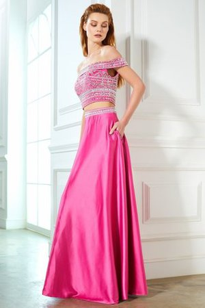 Satin Sleeveless Princess Natural Waist Beading Evening Dress - 4