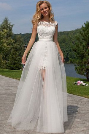 Scoop Floor Length Tulle Sheath Sleeveless Wedding Dress - 1