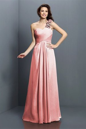 Zipper Up One Shoulder Chiffon A-Line Bridesmaid Dress - 21