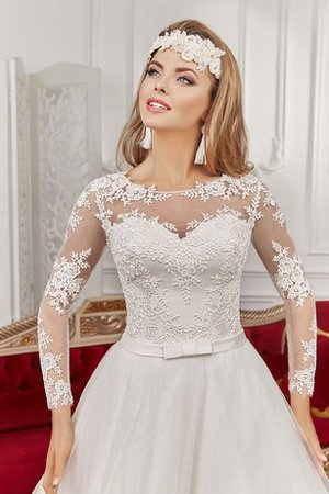 Pleated Long Sleeves Lace Fabric Bateau Romantic Wedding Dress - 2