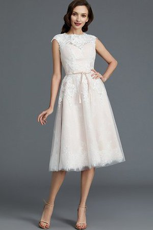 Bateau Natural Waist Sleeveless Knee Length A-Line Wedding Dress - 7