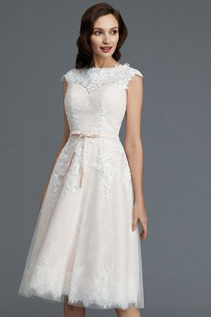 Bateau Natural Waist Sleeveless Knee Length A-Line Wedding Dress - 6
