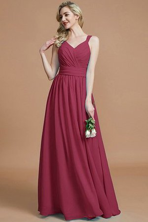 Sleeveless Natural Waist A-Line V-Neck Bridesmaid Dress - 11