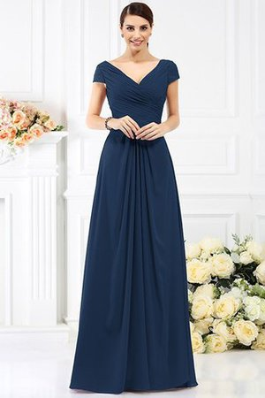 Long Empire Waist Pleated A-Line Short Sleeves Bridesmaid Dress - 10
