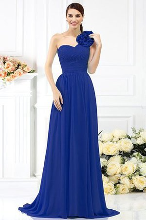 Chiffon A-Line One Shoulder Long Flowers Bridesmaid Dress - 25