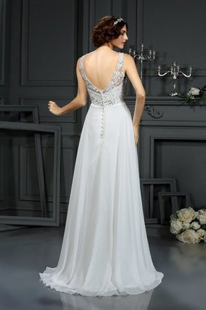 Long Sleeveless Princess Sweep Train Chiffon Wedding Dress - 2