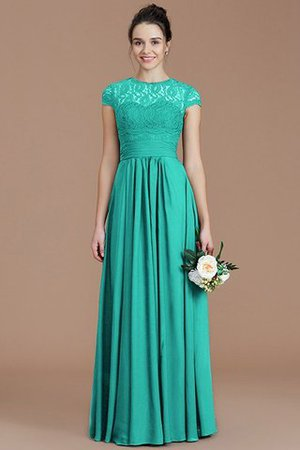 Chiffon Floor Length A-Line Jewel Short Sleeves Bridesmaid Dress - 21