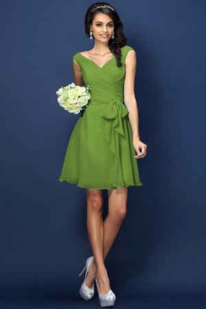 Zipper Up A-Line V-Neck Short Bridesmaid Dress - 14