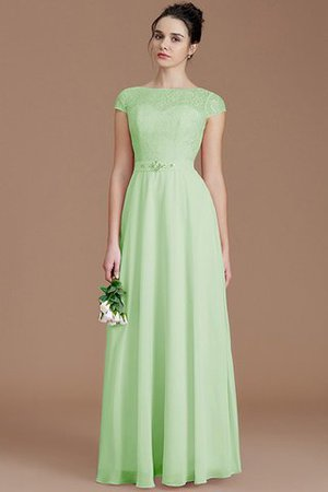 Floor Length Lace Chiffon Natural Waist Zipper Up Bridesmaid Dress - 31