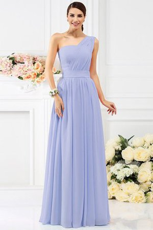Pleated Long A-Line One Shoulder Bridesmaid Dress - 17