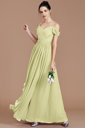 Chiffon Floor Length A-Line Ruched Bridesmaid Dress - 14