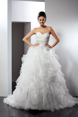 Ruffles Sweetheart Ball Gown Zipper Up Empire Waist Wedding Dress - 1