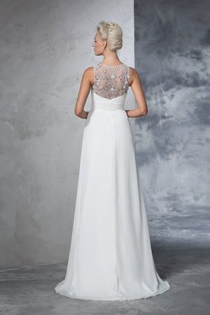 Chiffon Empire Waist Long Sweep Train A-Line Wedding Dress - 2