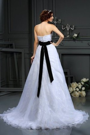 Sleeveless Long Court Train Sweetheart Satin Wedding Dress - 2