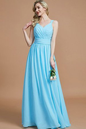 Sleeveless Natural Waist A-Line V-Neck Bridesmaid Dress - 1