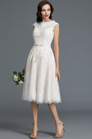 Bateau Natural Waist Sleeveless Knee Length A-Line Wedding Dress - 3
