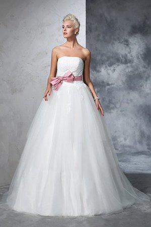 Empire Waist Court Train Accented Bow Ball Gown Strapless Wedding Dress - 3
