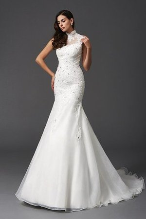 Sleeveless Organza Natural Waist High Neck Mermaid Wedding Dress - 6