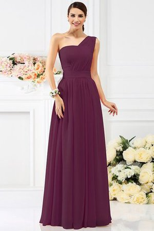 Pleated Long A-Line One Shoulder Bridesmaid Dress - 5