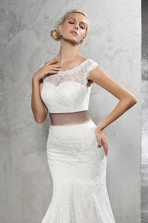 Lace Court Train Sashes Sheath Sleeveless Wedding Dress - 4