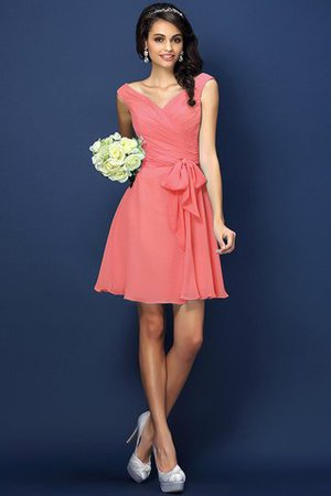 Zipper Up A-Line V-Neck Short Bridesmaid Dress - 28