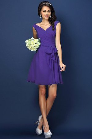Zipper Up A-Line V-Neck Short Bridesmaid Dress - 24