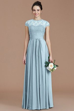 Chiffon Floor Length A-Line Jewel Short Sleeves Bridesmaid Dress - 22