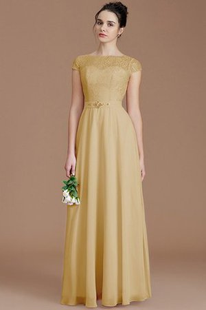 Floor Length Lace Chiffon Natural Waist Zipper Up Bridesmaid Dress - 17