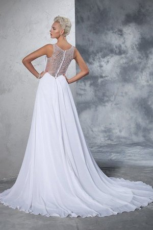 Cathedral Train Natural Waist A-Line Chiffon Wedding Dress - 2