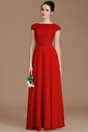 Floor Length Lace Chiffon Natural Waist Zipper Up Bridesmaid Dress - 28