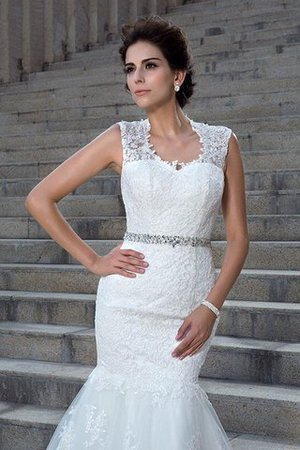 V-Neck Mermaid Sleeveless Chapel Train Appliques Wedding Dress - 6