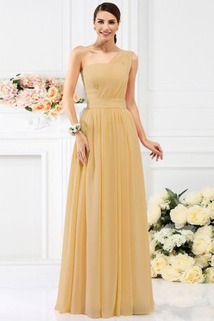 Pleated Long A-Line One Shoulder Bridesmaid Dress - 12