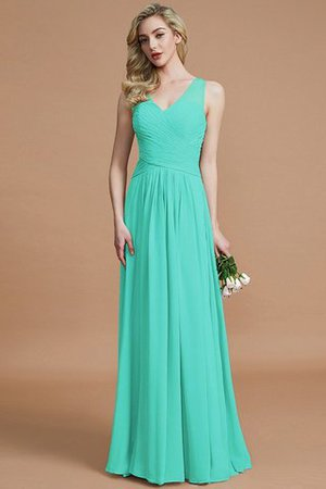 Natural Waist Floor Length A-Line V-Neck Bridesmaid Dress - 20