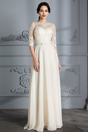 Natural Waist A-Line Scoop Half Sleeves Wedding Dress - 3