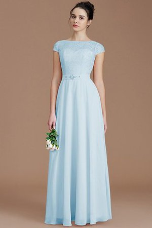 Floor Length Lace Chiffon Natural Waist Zipper Up Bridesmaid Dress - 23