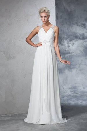 Chiffon Empire Waist Long Sweep Train A-Line Wedding Dress - 1
