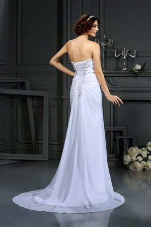 Chiffon Sleeveless Beading Lace-up Long Wedding Dress - 2