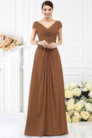 Long Empire Waist Pleated A-Line Short Sleeves Bridesmaid Dress - 4