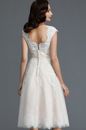 Bateau Natural Waist Sleeveless Knee Length A-Line Wedding Dress - 8