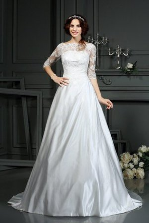 Long Court Train Natural Waist Princess Half Sleeves Wedding Dress - 1