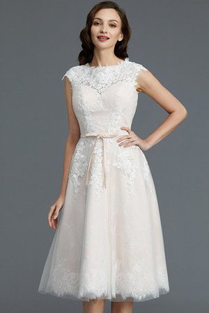 Bateau Natural Waist Sleeveless Knee Length A-Line Wedding Dress - 5
