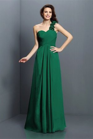 Zipper Up One Shoulder Chiffon A-Line Bridesmaid Dress - 9