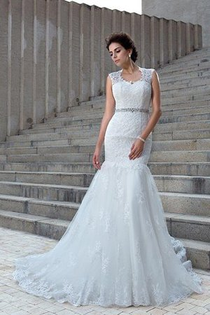 V-Neck Mermaid Sleeveless Chapel Train Appliques Wedding Dress - 5