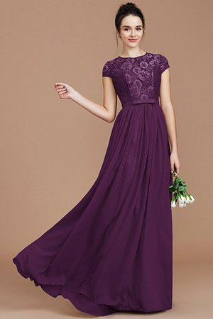 A-Line Jewel Lace Short Sleeves Bridesmaid Dress - 19