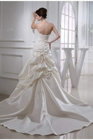 Beading Satin Sleeveless Lace-up Strapless Wedding Dress - 3