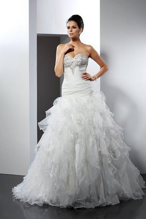 Tulle Sleeveless Ball Gown Long Ruffles Wedding Dress - 1