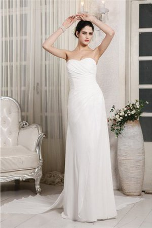 Chiffon Lace-up Ruffles Court Train Sheath Wedding Dress - 1