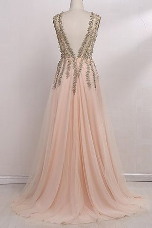 V-Neck Sleeveless Floor Length Tulle Beading Evening Dress - 3