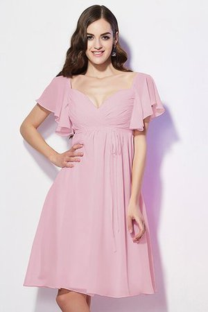 Ruffles Knee Length Short Sleeves Sweetheart Bridesmaid Dress - 21