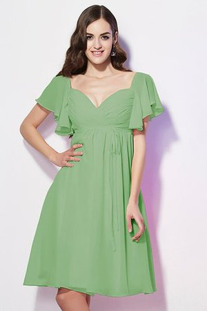 Ruffles Knee Length Short Sleeves Sweetheart Bridesmaid Dress - 27